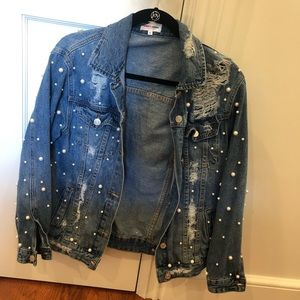 EMBELLISHED PEARL DENIM JACKET